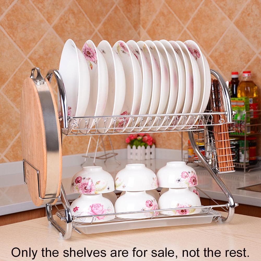 Kitchen Racks Double Layer Dish Drying Rack Shelf Holder Basket Dryer Durable Dishes Organizer Stand Kitchen Supplies|Racks & Holders| |  - title=