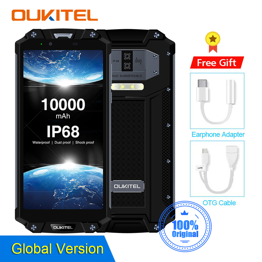 "OUKITEL WP2 10000mAh IP68 Waterproof Dust Shock Proof Mobile Phone Octa Core 4GB 64GB MT6750T 6.0"" 18:9 Fingerprint Smartphone"