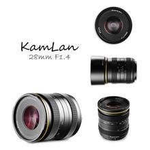 Kamlan 28mm f1.4 ângulo largo APS C grande abertura manual fo cus lente para câmeras mirrorless