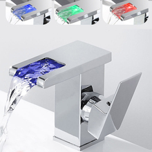 NEW LED Luminous Water Faucet Basin Faucet Water Taps Temperature Control Three-Color Changing Kitchen Bathroom Fixture