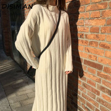 autumn winter 2019 korean style women long sleeve sweater dress plus size clothes knit casual striped