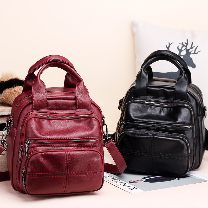 New Style Multi-functional Dual Purpose Pu Europe And America Popular Backpack Single-shoulder Bag For Women Manufacturers Whole
