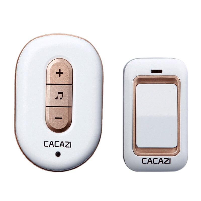 Cacazi Wireless Doorbell No Battery Need Waterproof Smart Door Bell Cordless 120M Remote Ac 110V-220V 1x Emitter 1x Receiver(Us