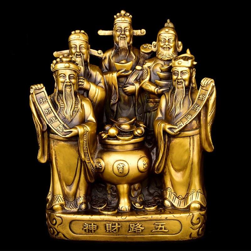 Chinois Fengshui laiton cuivre dieu de la richesse statue de bouddha cinq voies Fortuna trésor chanceux décoration de la maison-in Figurines et miniatures from Maison & Animalerie    1