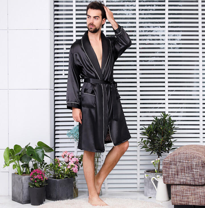 2019 Fashion Men's 2 Pieces Robe Sets Short Trousers Kimono Unqiue Luxury Comfort Soft Leisure Sleepwear Nightwear Bathrobe