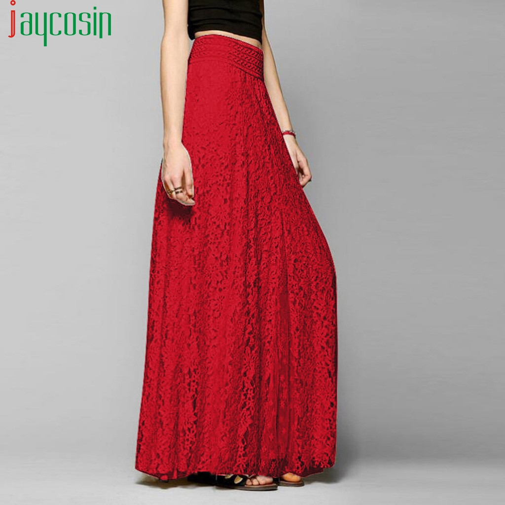 Women Long High Waist Long Skirt Lace Hollow Solid Color High Waist Loose Fashion Female Skirt Ladies Plus Size Party Skirt