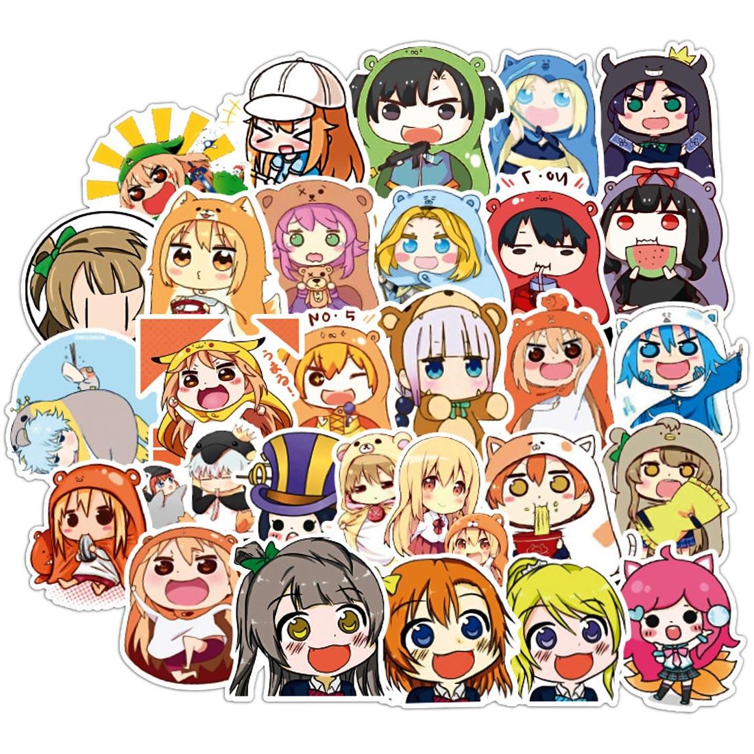 50pcs Himouto Umaru Chan Anime Kawaii Lazy Otaku Cute Girl Scrapbooking Phone Laptop Car Stickers Pack for Bike Cartoon Sticker