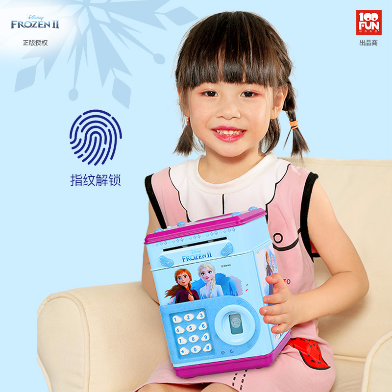 Disney Frozen Electronic Piggy Bank ATM Password Money Box Fingerprint Coin Money Saving Box Safe Box Girl Play House Toy