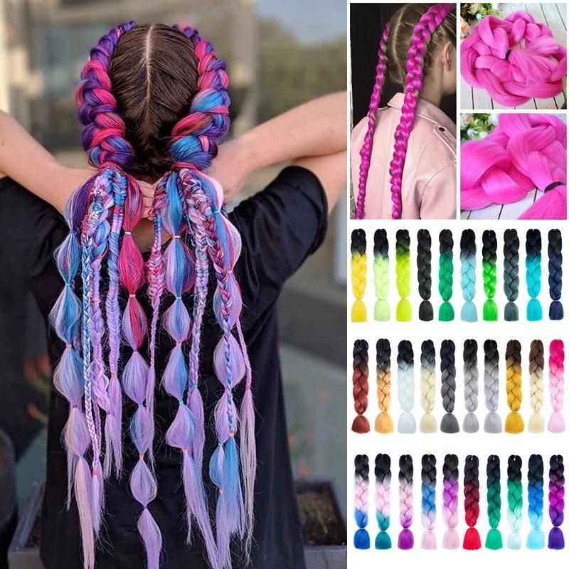 24 Inch Braiding Hair Extensions Jumbo Crochet Braids Synthetic Hair Style 100g/Pc Pure Blonde Pink Green Kanekalon