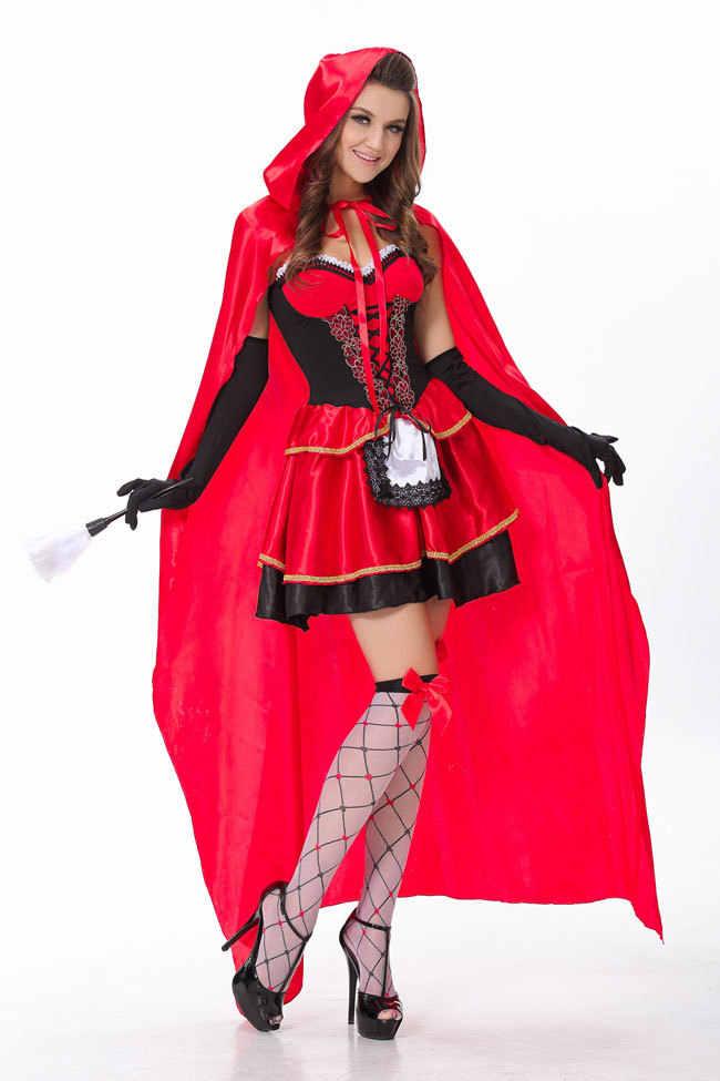 Ladies Little Red Riding Hood Costume Womens Fairy Tale Fancy Dress S XXL