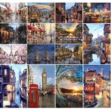DIY Oil Painting By Numbers City Landscape On Canvas Art Picture For Adults Kits HandPainted Drawing Acrylic Paint Decor Gift