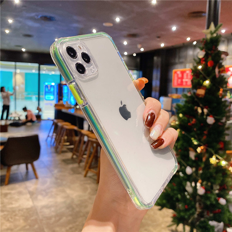 Funda de teléfono de lujo con marco láser para iPhone, carcasa transparente a prueba de golpes para iPhone 11 Pro 12 Pro Max XS Max 7 8 Plus 12 Mini X XR SE 2020 6