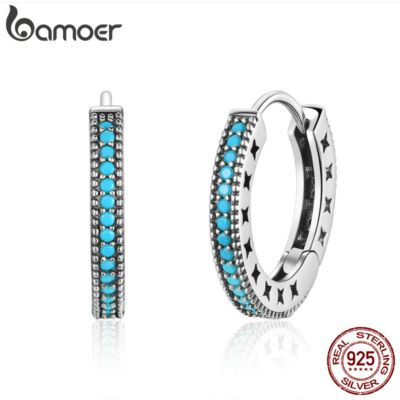 BAMOER Fashion Genuine 925 Sterling Silver Round Circle Hoop Earrings For Women Geometric Earrings Silver Jewelry Gift SCE493