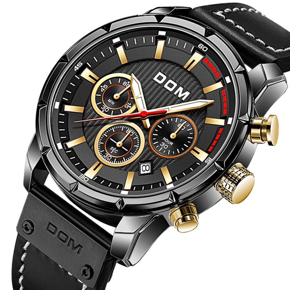 DOM Sapphire Sport Watches for Men Top Brand Luxury Military Leather Wrist Watch Man Clock Chronograph Wristwatch M-1320GL-5M 7