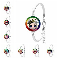 Cartoon LOL Puppe Glück Armband Nette Baby-Prinzessin Kleid Puppe Glas Konvexen Dame Armband Anime Kinder Geschenk(China)
