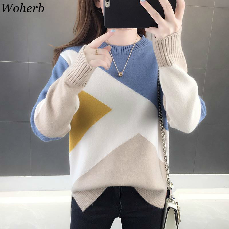 Woherb Sweater Women O Neck Long Sleeve Knit Pullovers Patchwork Loose Jumpers Korean Temperament Fashion New Pull Femme 91017