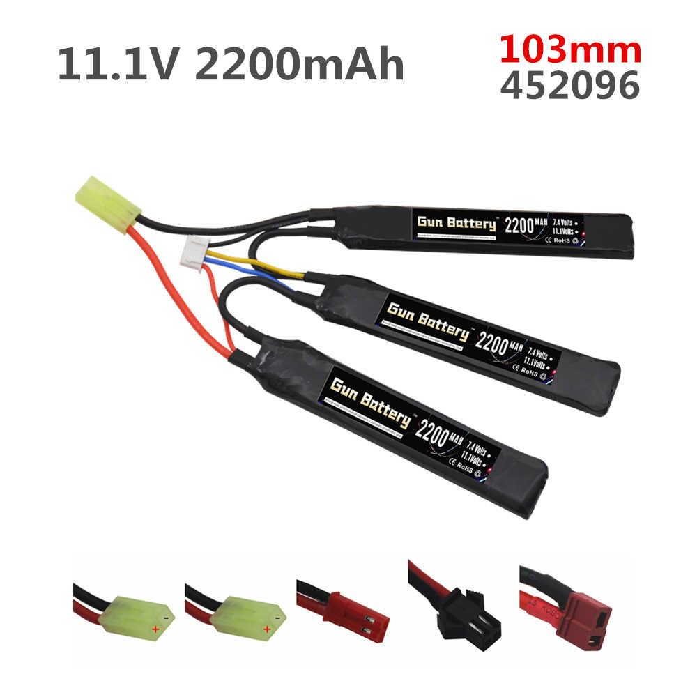 1PCS 3S Wasser Pistole Lipo Batterie Split verbindung 1,1 V 2200mAh 40C 452096 Für Airsoft BB Luft pistole Elektrische Spielzeug RC Teile