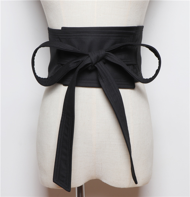 Outer Wear Bow Bandage Cloth Girdle Corset Female Black Decoration Dress Accessories Wide Belt Waistband
