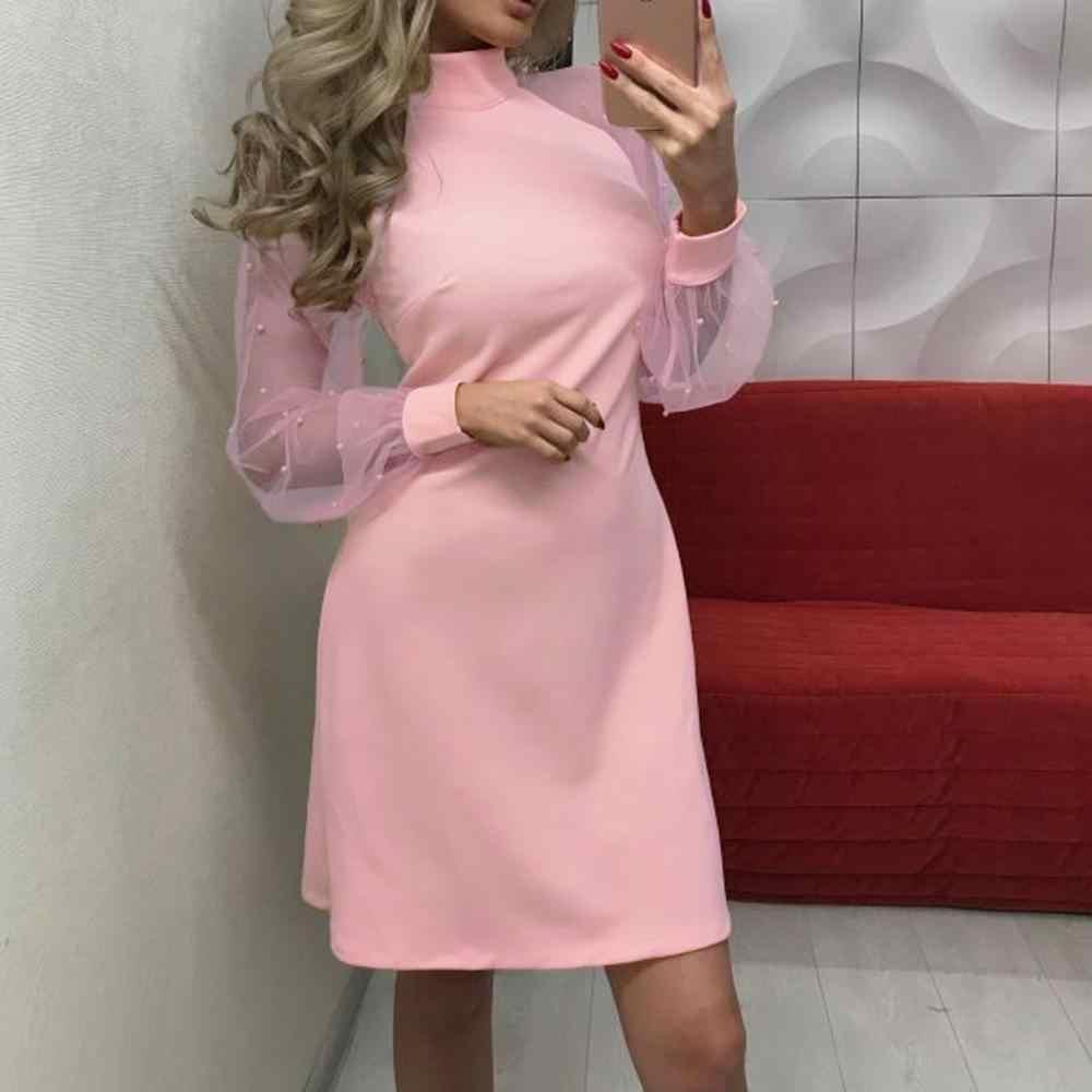우아한 여성 드레스 2019 봄 가을 진주 구슬 메쉬 슬리브 캐주얼 핑크 드레스 섹시한 긴 소매 미니 파티 드레스 #0916