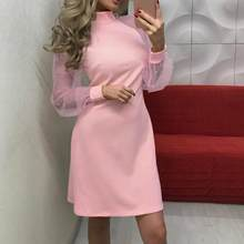 Elegante Vrouwen Jurk 2019 Lente Herfst Parel Kralen Mesh Mouwen Casual Roze Jurken Sexy Lange Mouwen Mini Party Dress #0916(China)