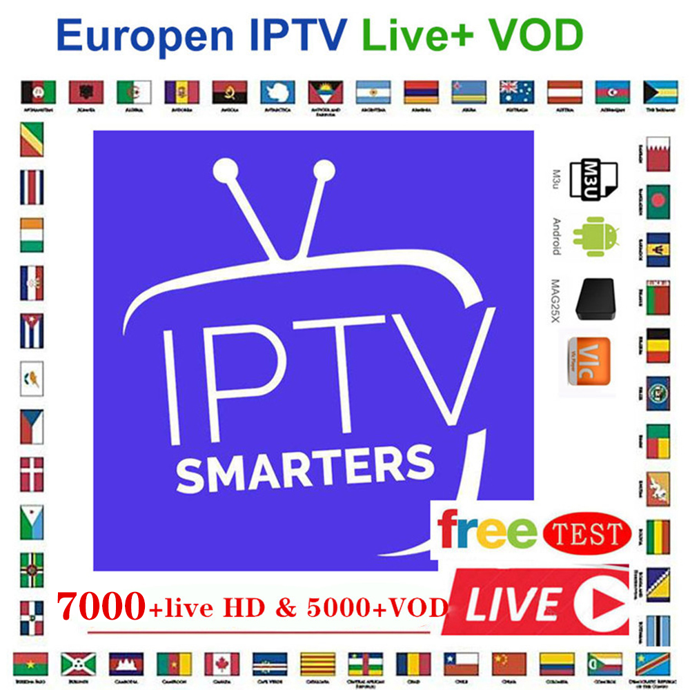 Global Iptv 7000+Live Europefrench Dutch Spain Italy Uk Iptv Subscription Arabic Iptv Free Sports Android Tv Box Ssmart Tv Pc