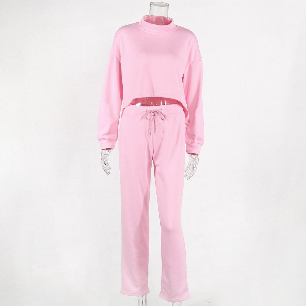 Image 5 - Women Black Loose Tracksuit Crop Top Harem Pants Matching Suit  Fashion Autumn Casual Female Long Sleeve Sweatshirt 2 Piece SetWomens  Sets
