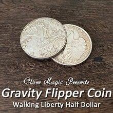 Gravity Flipper Coin Magic Tricks Walking Liberty Half Dollar Magia Magician Close Up Illusions Gimmick Props Mentalism Fun Easy