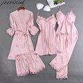 Jerrinut 5PCS Pyjamas Set Silk Satin Frauen Spitze Nachtwäsche Schlafanzug Anzug Weibliche Lounge Nachtwäsche Mit Brust Pads Nachthemden