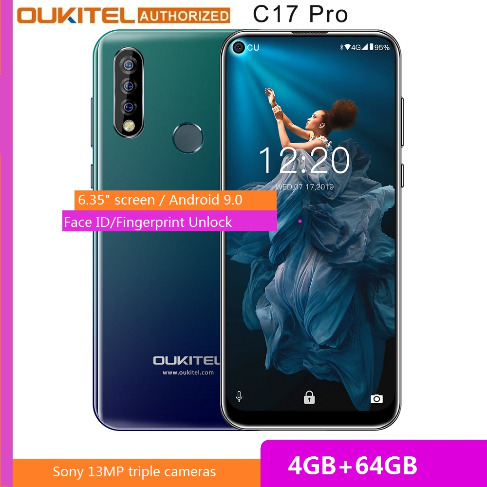 OUKITEL C17 Pro 6.35 inch 4GB RAM 64GB ROM MT6763 Smartphone 13MP Fingerprint Octa Core Android 9.0 4G Mobile Phone 3900mAh
