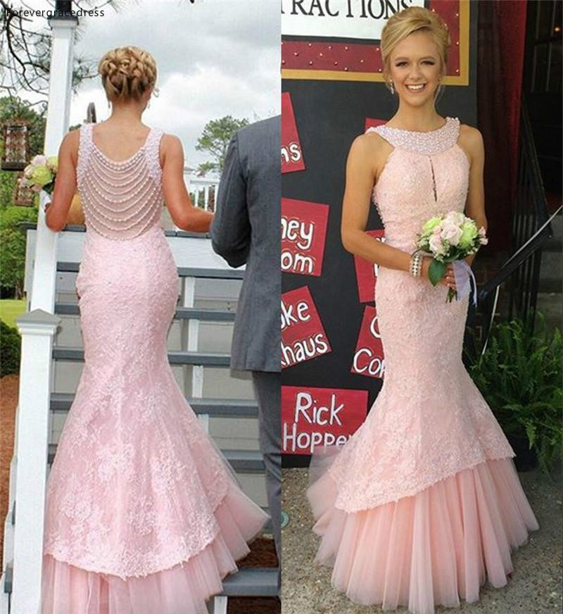 Blush Pink Halter Neck Bridesmaid Dress