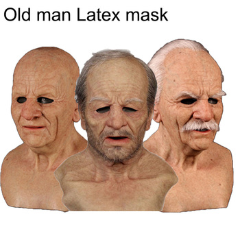 Old Man Scary Latex Mask Cosplay Scary Full Head Mask Halloween Horror Funny Cosplay Party Mask Old Man Head Helmet Real Masks
