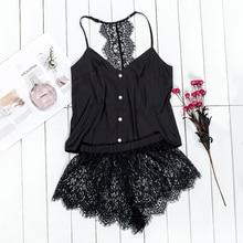 VICTORIA'S KEY Black Pajama Set Women Satin Sleepwear Spaghe