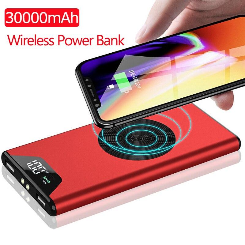 30000 мАч QI Беспроводное зарядное устройство портативное зарядное устройство беспроводной внешний аккумулятор для Xiaomi Mi 9 8 IPhone XS huawei