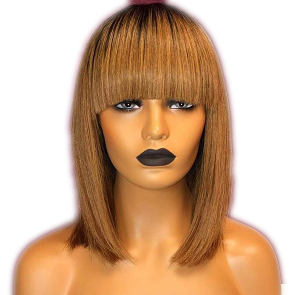 Eversilky 360 Ombre Wig Honey Blonde 13x4 Lace Front Wigs Fringe Wig Short Bob Wig Straight Full Lace Human Hair Wigs With Bangs