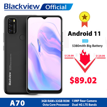 Blackview A70 Android 11 Smartphone 6.517 Inch Display Octa Core 3GB RAM+32GB ROM 5380mAh 13MP Rear Camera 4G Mobile Phone