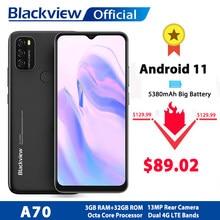 Blackview – A70 Smartphone 4G Android 11, écran 6.517 pouces, Octa Core, 3 go de RAM, 32 go de ROM, batterie 5380mAh, caméra arrière 13mp, téléphone portable