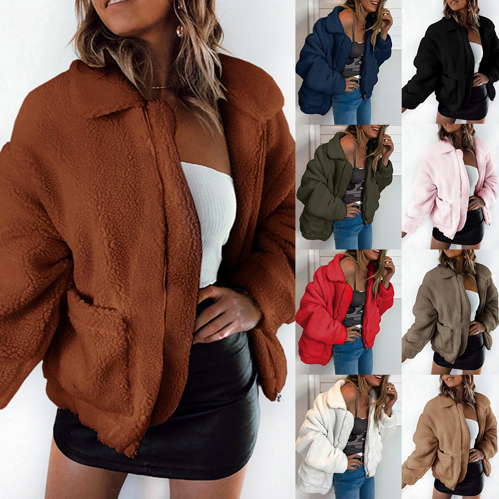 Women Fur Jacket Coats Solid Color Cropped Teddy Jacket Autumn Furry Warm Overcoat Zipper Outerwear Female Homme Streetwears in Faux Fur from Women 39 s Clothing