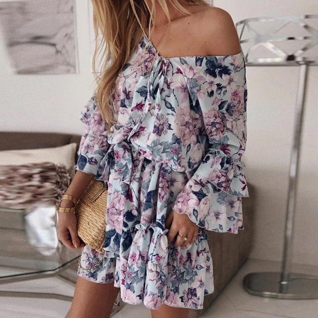 Okkdey Womens Boho Floral Mini Swing Dress Summer Holiday Beach Ruffle Frill Sundress Bohemian Sexy Mini Women Dresses Vestido 6