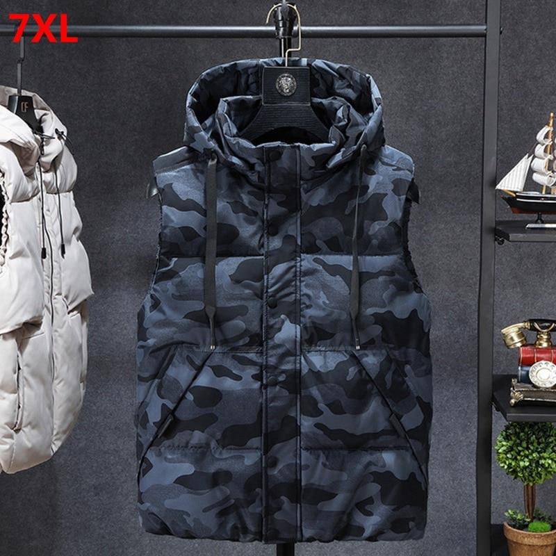 Plus Size Men's Vest Winter Korean Camouflage Trend Casual Hooded Vest Top Plus Loose 7XL 6XL