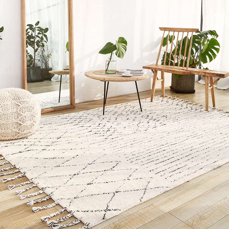 India Handmade Carpets Livingroom Turkey Nordic Home Bedroom Carpet Kilim Rug Floor Mat Study Room Morocco Carpet With Tassel