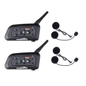Image 1 - 2019 Fodsports Metal clip +2 pcs V6 Pro BT Interphone 1200M Motorcycle Bluetooth Helmet Intercom headset for 6 Rider 850mah