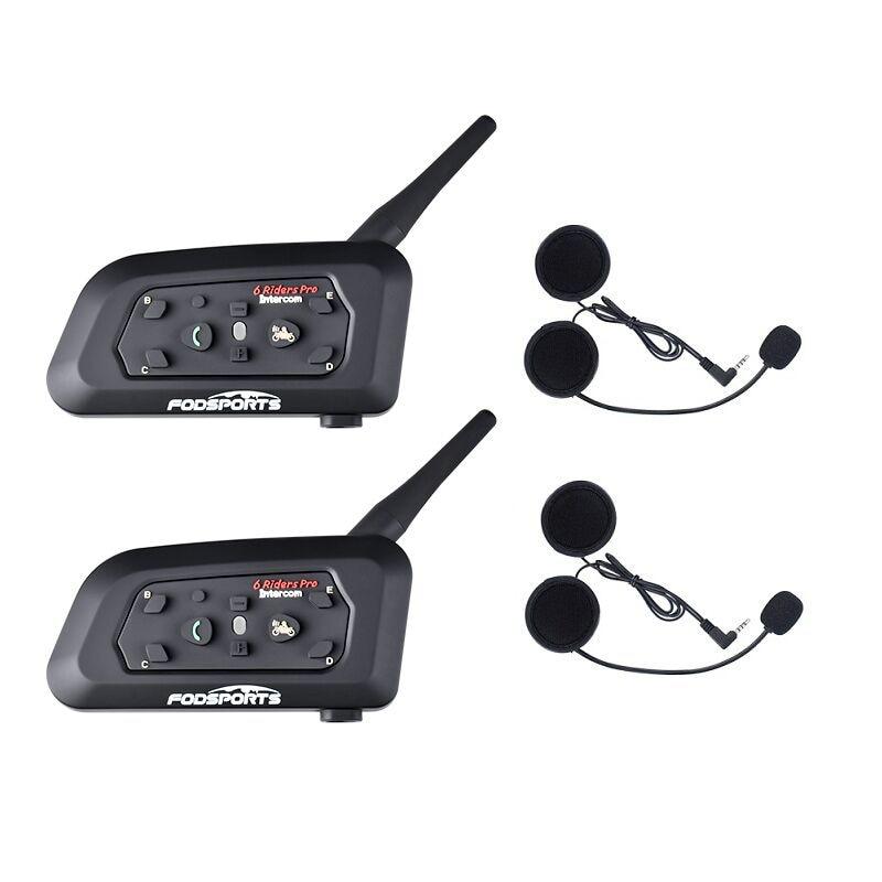 2019 Fodsports Metall clip + 2 stücke V6 Pro BT Sprech 1200M Motorrad Bluetooth Helm Intercom headset für 6 reiter 850mah
