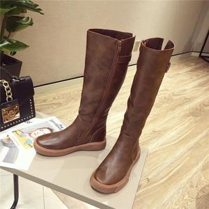 Image 4 - SWYIVY حذاء برقبة للركبة النساء 2019 الشتاء منصة الأحذية مشبك حذاء كاجوال امرأة أسود/براون طويل القامة التمهيد سستة حجم كبير 42