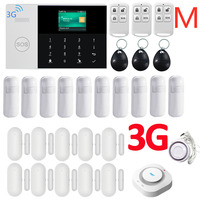 3G WIFI GPRS SIM SMS RFID Card APP Remote Control Wireless Top Home Security Fire House Alarm System With Voice Alarm System