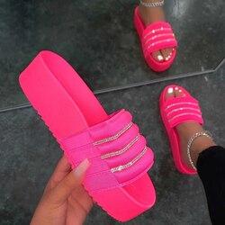 Strass Plattform Hausschuhe Frauen Sommer Bling Flache Schuhe Outdoor Sandalen 2021 Mode Damen Kristall Hausschuhe Lässig Dias