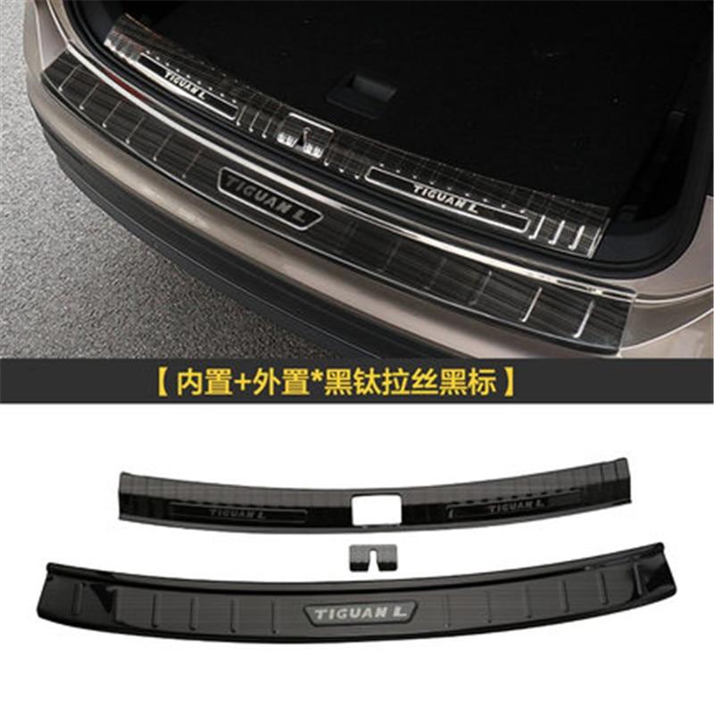 Wysokiej jakości tylny zderzak ze stali nierdzewnej nakładka ochronna na krawędź bagażnika płyta bieżnika tapicerka do 2019 Volkswagen Tiguan L Car Styling