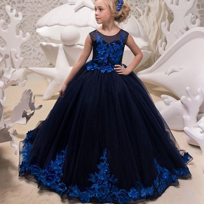 Long Ball Gown Blue   Flower     Girl     Dress   V-neck Princess Toddler Junior Bridesmaid Pageant gown for wedding and party