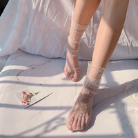Été Cool Dot Tulle chaussettes femmes respirant Transparent Ultra-mince chaussettes femme maille petits pois chaussettes