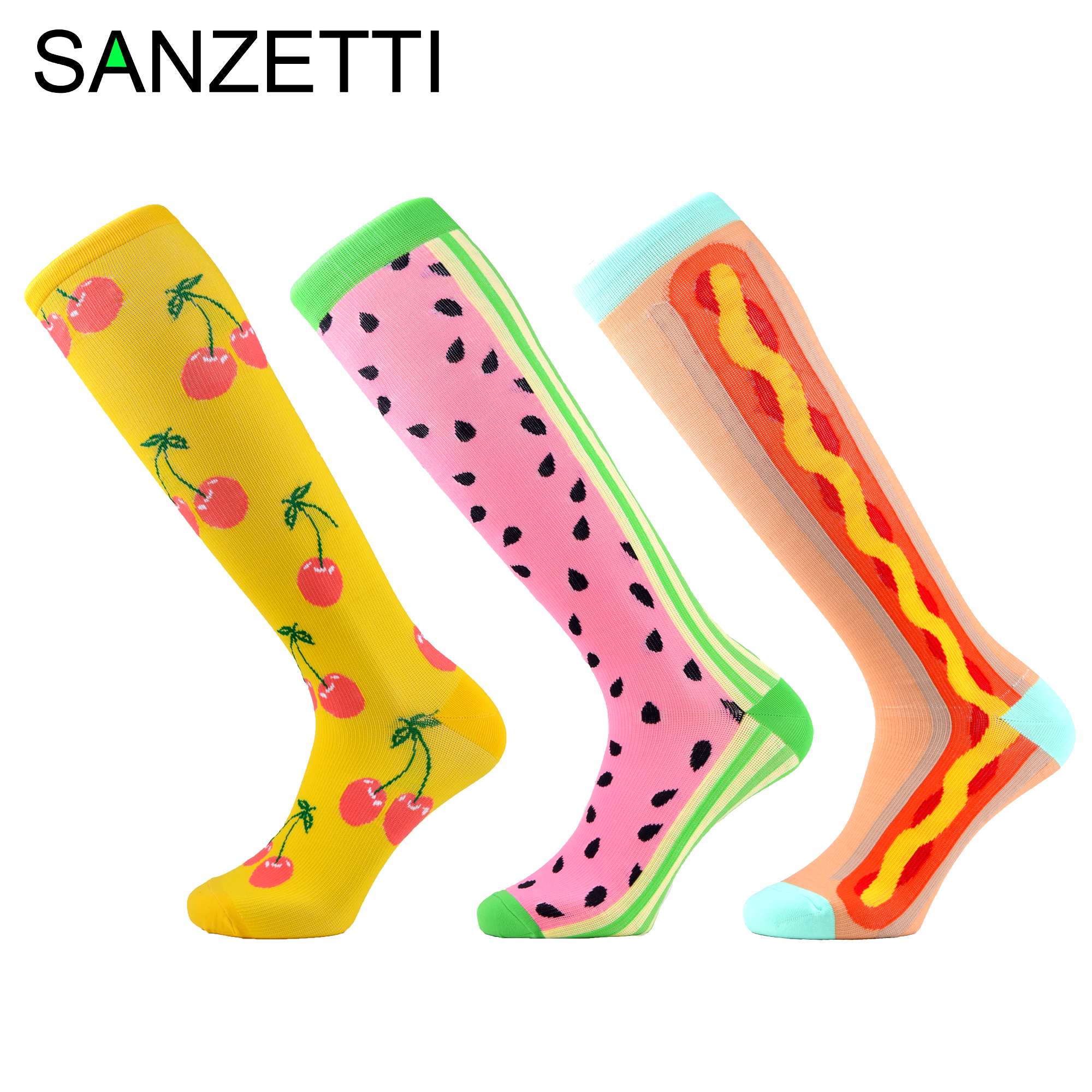 SANZETTI 3 Pairs/Lot Women Colorful Leg Support Stretch Combed Cotton Compression Socks Below Knee Anti-Fatigue Long Happy Socks