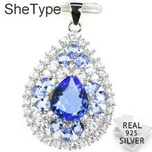 35x22mm 4.2g Created Rich Blue Violet Tanzanite Sky Blue Topaz Gift For Woman's 925 Solid Sterling Silver Pendant